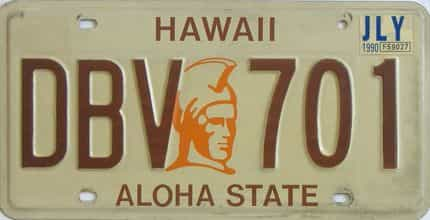 1990 Hawaii (Single) license plate for sale