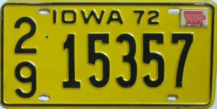 1974 Iowa (Single) license plate for sale