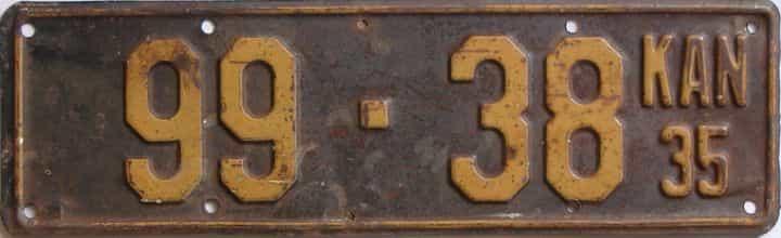 1935 Kansas (Single) license plate for sale
