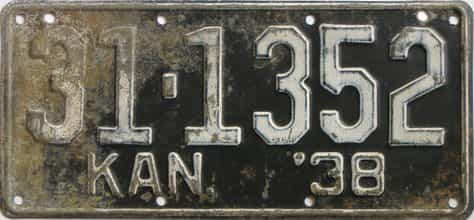 1938 Kansas  (As-Found) license plate for sale