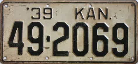 1939 Kansas license plate for sale