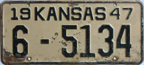 1947 Kansas license plate for sale