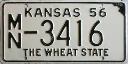 1956 Kansas license plate for sale
