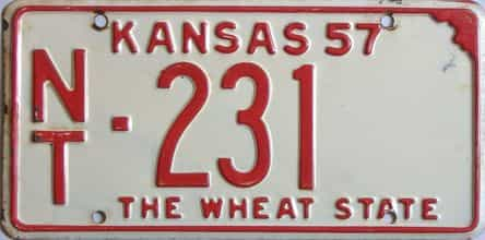 1957 Kansas license plate for sale