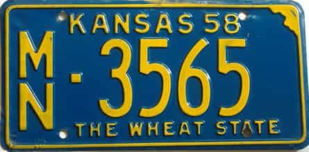 1958 Kansas license plate for sale
