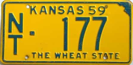 1959 Kansas license plate for sale
