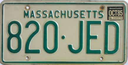 1985 Massachusetts license plate for sale