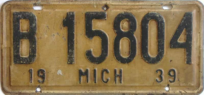 1939 Michigan  (Single) license plate for sale