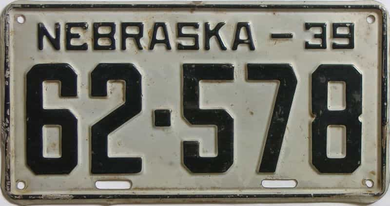 1939 Nebraska  (Single) license plate for sale