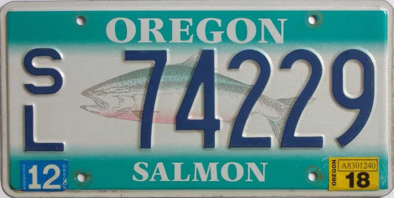 2018 Oregon (Single) license plate for sale
