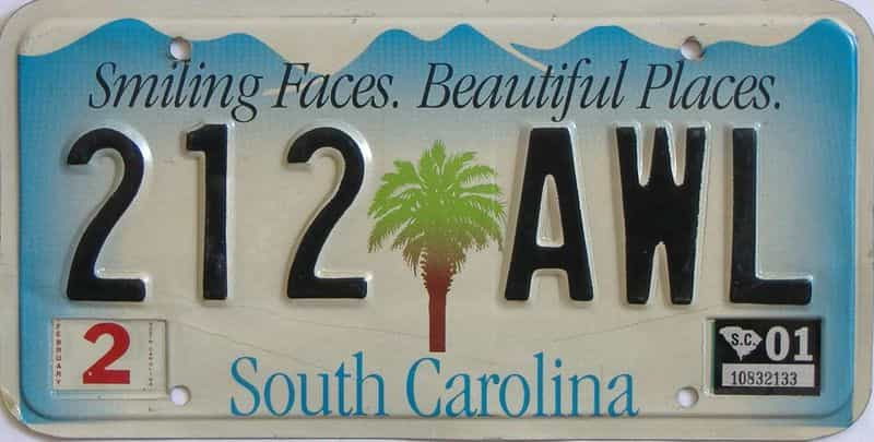 2001 South Carolina license plate for sale