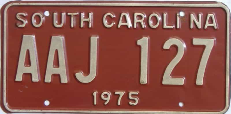 1975 South Carolina  (Single) license plate for sale