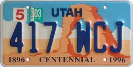 2003 Utah  (Single) license plate for sale
