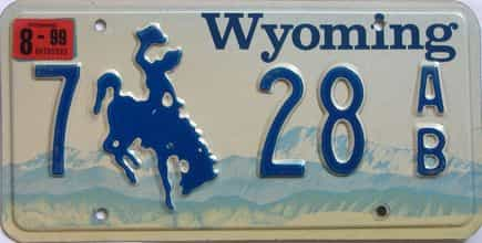 1999 Wyoming (Single) license plate for sale