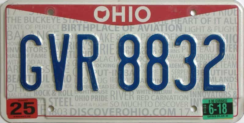 2018 Ohio (Single) license plate for sale