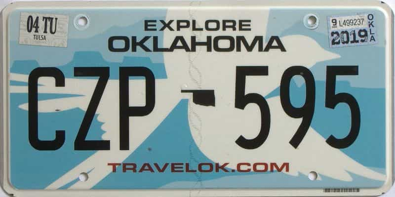 2019 Oklahoma license plate for sale