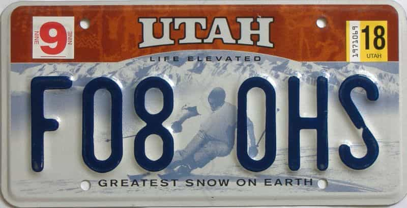 2018 Utah  (Single) license plate for sale