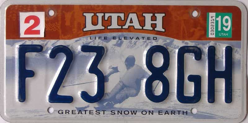 2019 Utah  (Single) license plate for sale