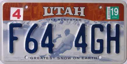 2019 Utah (Single) license plate for sale