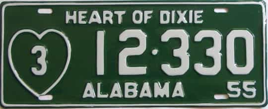 RESTORED 1955 Alabama (Single) license plate for sale