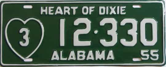 RESTORED 1955 Alabama (Single) license plate for sale