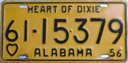 1956 Alabama (Single) license plate for sale