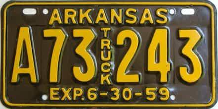 1959 Arkansas (Truck) license plate for sale