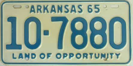 1965 Arkansas license plate for sale