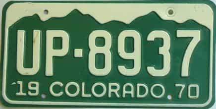 1970 Colorado  (Single) license plate for sale
