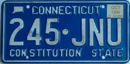 1996 Connecticut (Single) license plate for sale