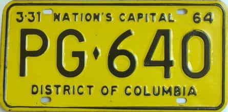 1964 District Of Columbia (Single) license plate for sale