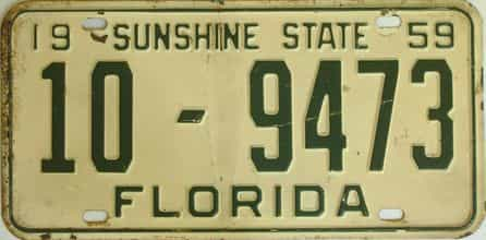 1959 Florida license plate for sale