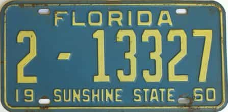 1960 Florida license plate for sale