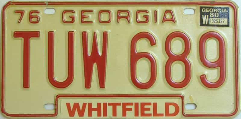 YOM 1980 Georgia YOM 1971 - 1989  (Natural) license plate for sale