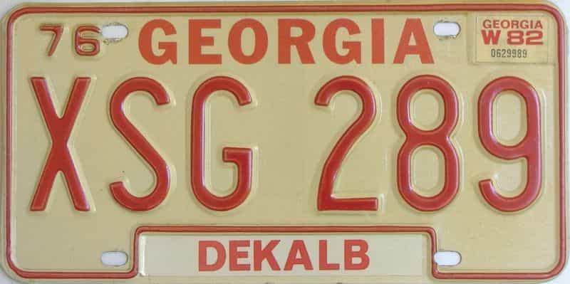 YOM 1982 Georgia YOM 1971 - 1989  (Natural) license plate for sale