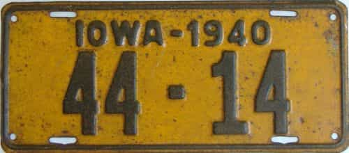 1940 Iowa  (Single) license plate for sale