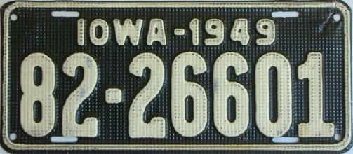1949 Iowa  (Single) license plate for sale