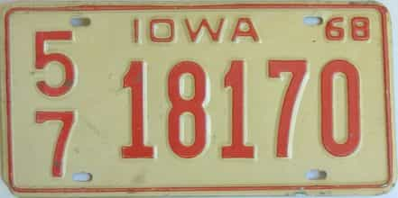 1968 Iowa  (Single) license plate for sale