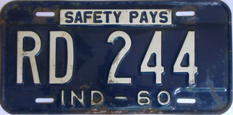 1960 Indiana license plate for sale