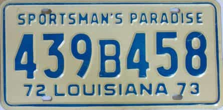 1972 Louisiana license plate for sale