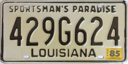 1985 Louisiana license plate for sale