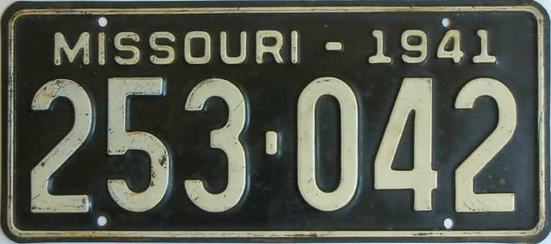 1941 Missouri  (Single) license plate for sale