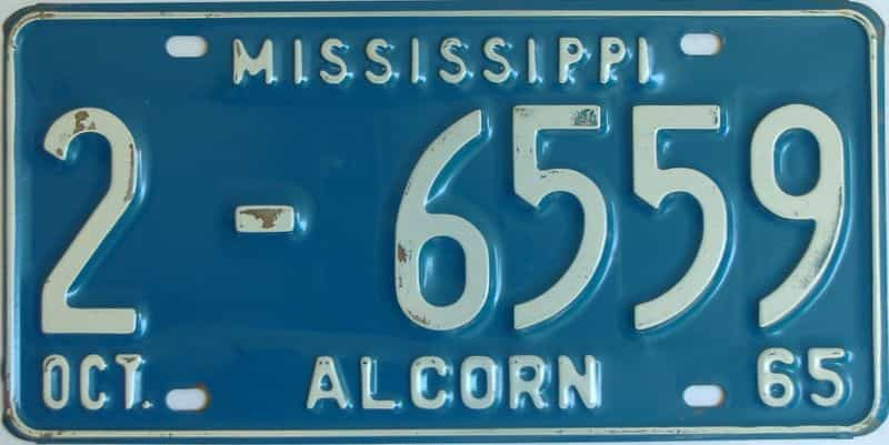 1965 Mississippi license plate for sale