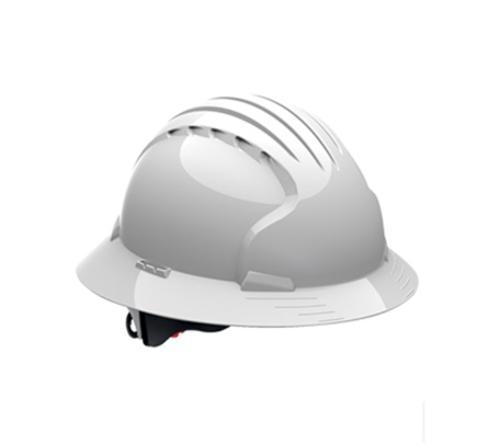 Evolution® Deluxe 6161 Full Brim Hard Hat w/ 6-Point Suspension and Wheel Ratchet Adjustment - White