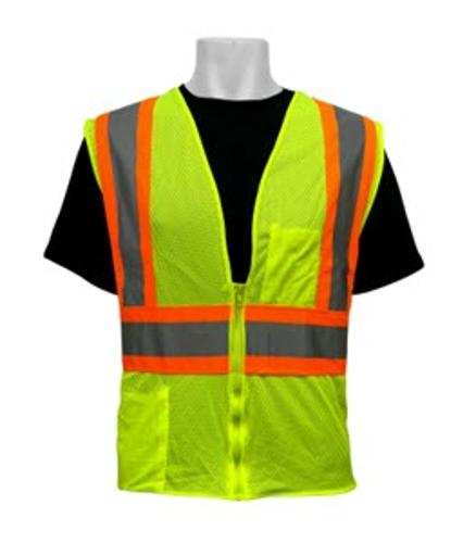 Global Glove Class #2 Lime w/ Silver & Orange Safety Reflective Vest - 2 XL