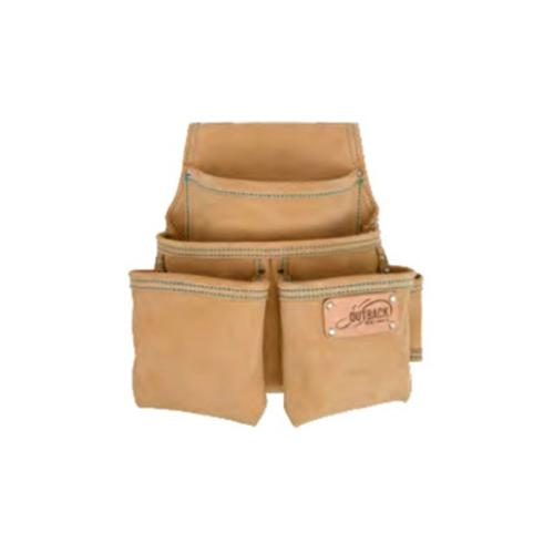 OX Tools 4-Pocket Suede Leather Fastener Pouch