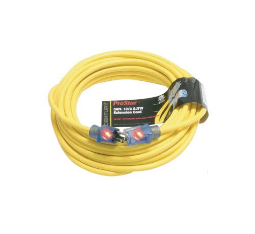 50 ft Century Wire & Cable ProStar 12/3 SJTW Heavy Duty Lighted Extension Cord - Yellow