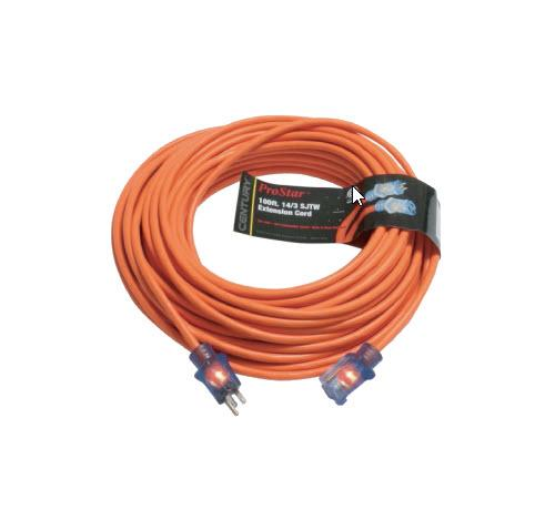 100 ft Century Wire & Cable ProStar 14/3 SJTW Heavy Duty Lighted Extension Cord - Orange