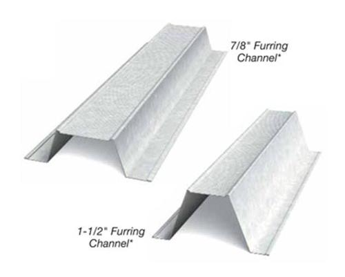 2 in x 12 ft x 18 Gauge 43 mil Furring Channel/Hat Channel