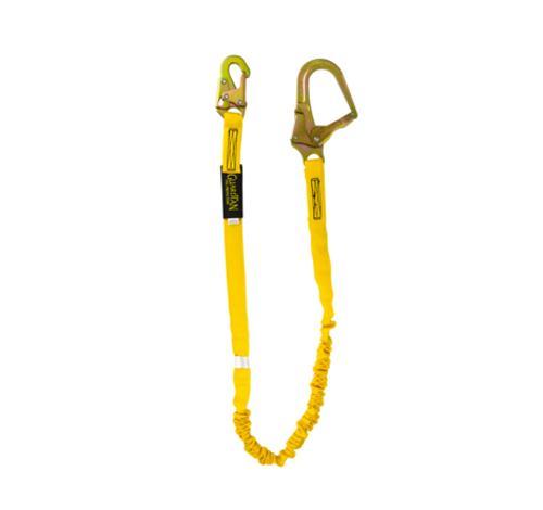 6 ft Guardian Fall Protection Internal Shock Lanyard w/ Steel Rebar Hook